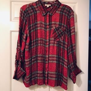 Red plaid over sized shirt with silver sequins.